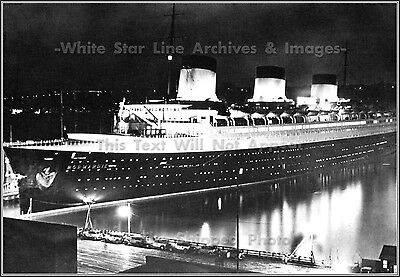 Photo: The SS Normandie, Night View At NY's Pier  88 After Riband Run June, 1935
