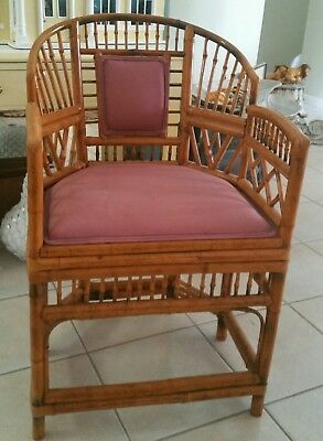 Brighton BAMBOO Rattan Chair Vintage Armchair Chinoiserie Faux Bamboo Accent