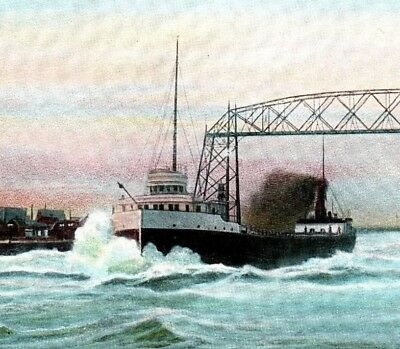 Steamer E.J. Earling Duluth Minnesota harbor steam ship ore Vintage Postcard