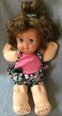 Vtg Mattel 1989 Magic Nursery Vinyl Cloth Doll Brunette Pink Dress Brown Hair Other Dolls