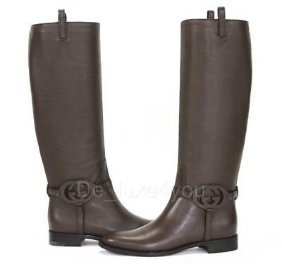 09ee717b1 New Gucci Calf Brown Leather 3-D Interlocking GG Riding Tall Boots 37 - US