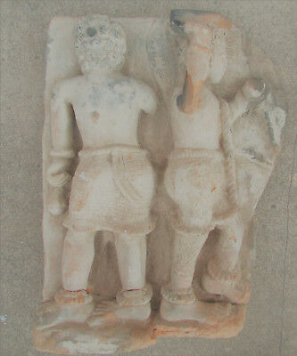 Large & Impressive Gandhara Terracotta Relief Panel, Rare Man Transporting Water