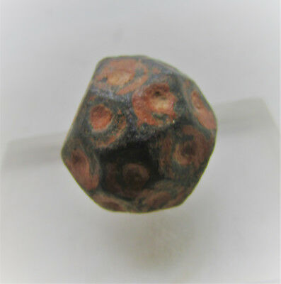 Ancient Byzantine Polygonal Weight With Ring And Dot Motifs