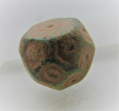 Ancient Byzantine Polygonal Barrel Weight With Ring And Dot Motifs Rare