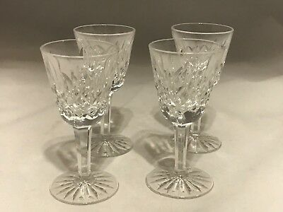 """Set of 4 Waterford Crystal Small Liqueur Cordial 3 1/2"""" 1oz BEAUTIFUL! Lismore"""