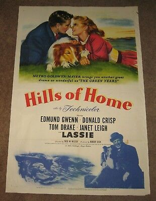 """LASSIE - HILLS OF HOME 1948 Original NSS MOVIE POSTER 27x41"""" One Sheet Folded"""