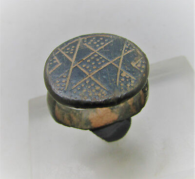 Circa 600-1000Ad Byzantine Era Bronze Crusaders Seal Ring Lovely Details