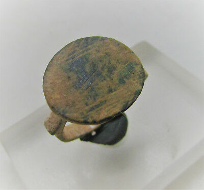 Late Roman Period Bronze Seal Ring With Numerals 'iv' On Bezel