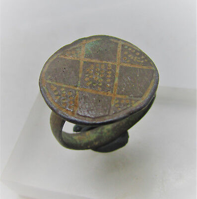 Circa 600-1000Ad Byzantine Era Bronze Signet Ring Excellent Condition