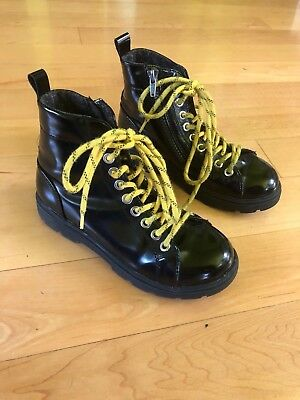 Zara Kids Black Patent Leather Combat Boots w/Zip Girls Size 32 Euro 13.5 US