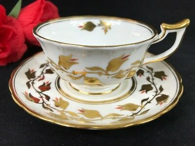 Vintage Royal Chelsea England HEAVY GOLD VINE FLOWERS BATWING Cup Saucer 3483A/R