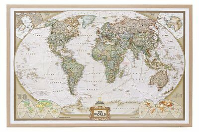 World Map on Cork Pin Board English Wood Frame 90x60cm #199086