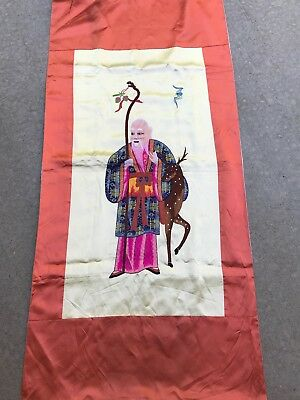 Exclent 20Th C Chinese Silk Embroidery Panel Of The God Of Longevity