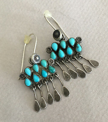 Lovely Vintage ZUNI BLUE TURQUOISE Hook Style Earrings circa. 1930/40