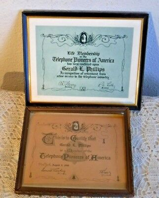 Telephone Pioneers of America Certifications of Membership - Framed VTG 1949 ++