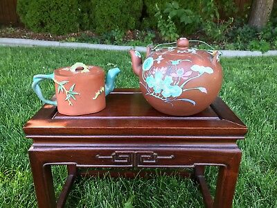 Two Old Chinese Yixing Zisha + Famille-Rose Teapots With Mark