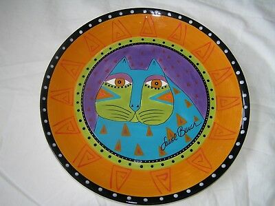 Laurel Burch Decorative Cat Plate from Ganz - Turquoise Cat on Orange