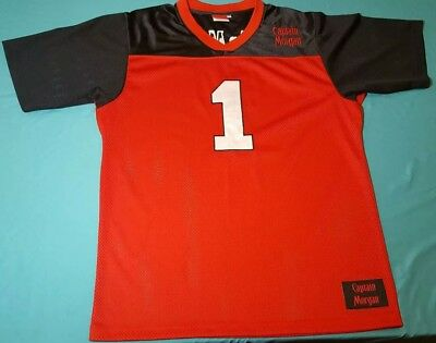Rare Captain Morgan Rum Red Black Football Style Embroidered Jersey #1 Adult XL