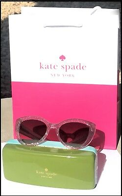 Kate Spade Labrenda Pink Glitter Cateyes Sunglasses +Hard Case +Cleani Clothing