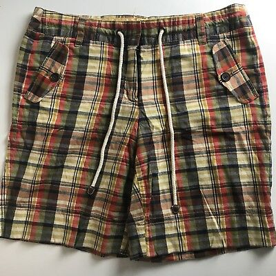 J. Crew City Fit Womens Madras plaid cotton shorts Size 8 red blue yellow