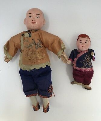Vintage Chinese Composition Doll: Two Boys