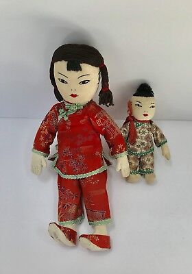 Vintage Chinese Fabric Dolls: Girl and Boy