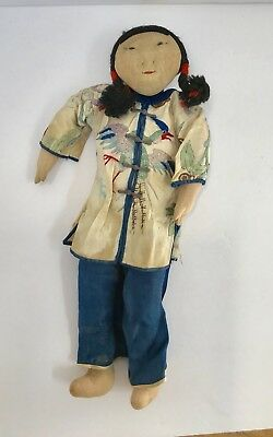 Vintage Chinese Fabric Girls Doll