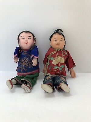 Vintage Chinese Composition Doll: Two Girls