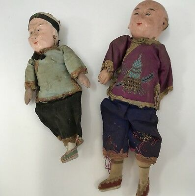 Vintage Chinese Composition Doll: Old Woman and Tall Boy