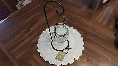 Pier 1 Imports Black Metal Hanging Garden Candle Clear Glass Holder
