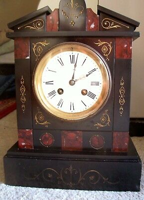 Antique French Marble Slate Mantle Clock