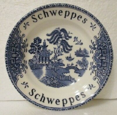 70s vintage SCHWEPPES Sparkling Water BAR TIP DISH promo ~ Wedgwood Blue Willow