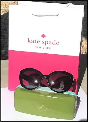 Kate Spade Sherrie/0/ Black Cateyes Sunglasses +Hard Case +Cleaning Clothing