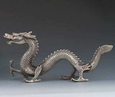 DELICATE CHINESE OLD COPPER PLATING SILVER HANDMADE DRAGON STATUE d02