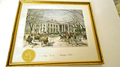 Jimmy and Rosalyn Carter's signed White House Print card Framed