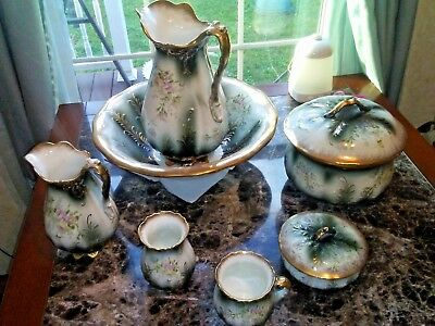 Knowles Taylor Knowles Chamber Wash Set 9 piece  c1895 - 1905 flowered