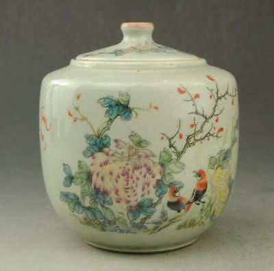 Chinese old porcelain famille rose Hand painted bird and flower pattern pot c01