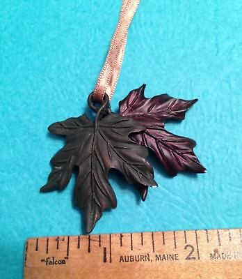 Longaberger Double Leaf Tie on Metal Autumn Reflections Necklace Ornament NIB