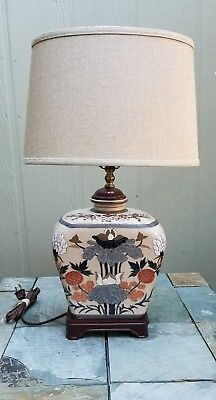 Very Attractive Vintage Chinese Cloisonne Table Lamp Base w Harp