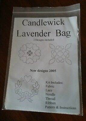 Candlewick Embroidery Kit Lavender Bag NEW and complete