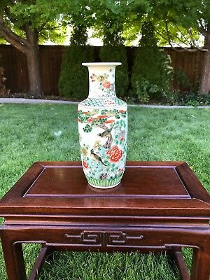 Antique Chinese Porcelain  Famille Verte Vase With Flowers And Birds