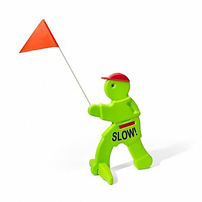 Children At Play Sign Slow Down Driveway Protection Green Reflective Flag Alert