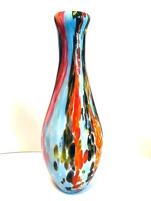 Art Glass Vase Multi Colored Splatter Hand Blown White Inside Large 16 inches
