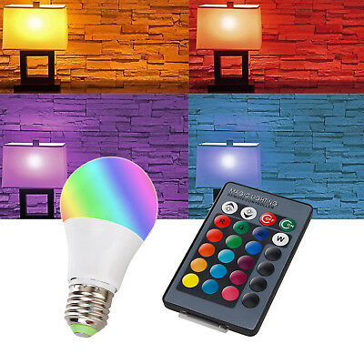 Regulable RGB Led Bombilla Mando a Distancia E27 10W 16 Cambia de Color Luz