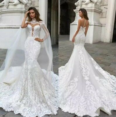 2018 Gorgeous Mermaid Wedding Dresses Lace With Cape Sheer Plunging Neck Bohemia