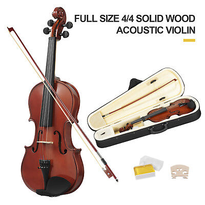 Full Size 4/4 Violin Solid Wood/Plywood Natural Acoustic Fiddle with case Bow
