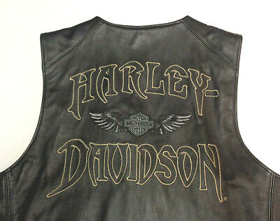 Harley Davidson Leather Relic Skull Vest Medium  *more Hd Leathers In Store  140