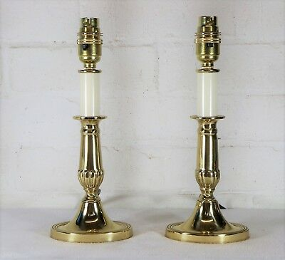 A Pair of Quality Valsan Solid Brass Table Lamps Antique Georgian Style