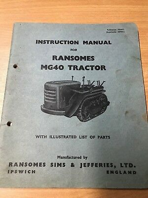 Ransomes MG40 TRACTOR INSTRUCTION MANUAL & PARTS LIST 19349G supersedes 18795G