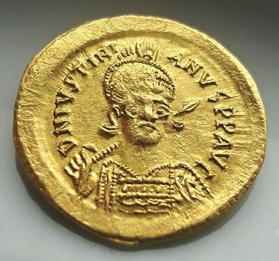 JUSTINIANUS I GOLD SOLIDUS Byzantine SOLID ** SOLIDUS ** VICTORY / RARE !!